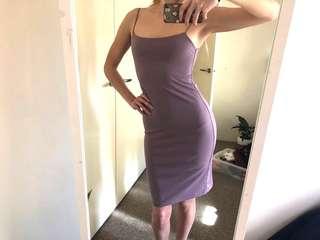 Purple Grey Midi Dress, Spaghetti Straps