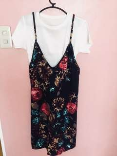 Floral dress with white crop blouse