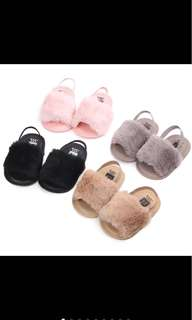 Baby girl fur slipper sandal soft shoe prewalker infant newborn toddler