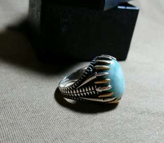 925 Sterling Silver Ring Blue/Green Agate Stone #