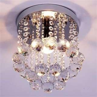 [PO743]Crystal Droplets Silver Chrome Ceiling Pendant Light Chandelier
