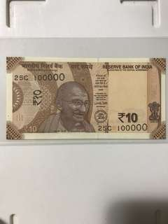(100000) New 2018 indian 10 Rupees Note Unc