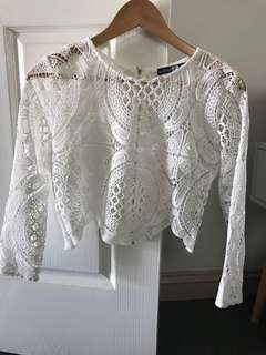 White Crotched / Lace Detail Zip Back Top