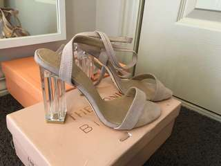 Iconic Billini perspect/nude suede strappy heel size 8 - BRAND NEW