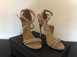 Nude Leather Strap Sandal Heels