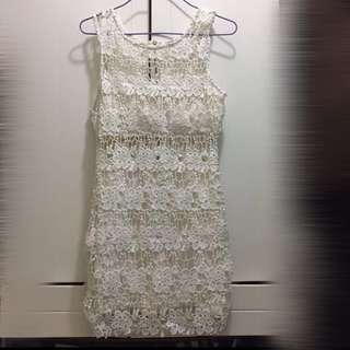 White see through lace parry dress