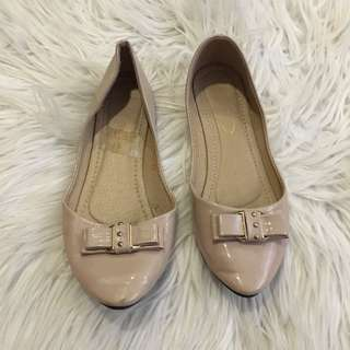 Beige Pointed Flats