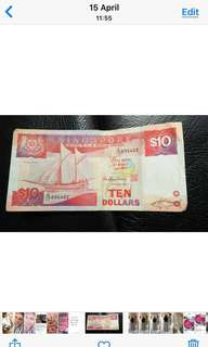 Old SGD $10 note ship series ♥️