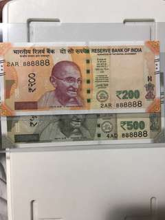 (888888) Unc Solid Lucky no new indian 500 & 200 Rupees 2017 Noted