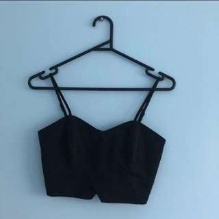 Bardot Black Crop Top