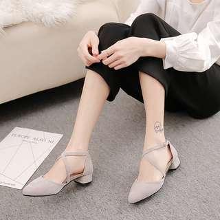 Women straps Heels cover toe light grey shoes stylish beautiful #ramadan50