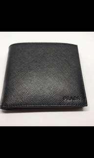 Brand new Prada Mens Nero black Saffiano Leather Wallet with coin pouch