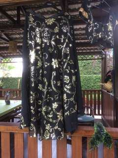 Black and Gold Sequinned Lengha
