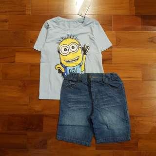 Minion biru set jeans