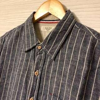 🚚 Glove House 直條紋棉麻短袖襯衫