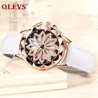 OLEVS Luxury brand Ladies watch women Fashion rhinestone creative 360-degree rotating dial Rose gold Leather waterproof Clock