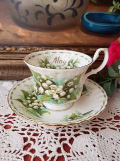 "Royal Albert England Flower the Month May. Tea cup & saucer ""May- Lily of the Valley"""