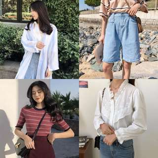 PROMO RM20 only! Korean Fashion Striped shirt jacket sheer top blue white denim shorts light blue pants jeans white lace top blouse red knitted top #ramadan50