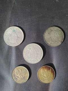 Uang koin lama 100 dan 500 Rupiah