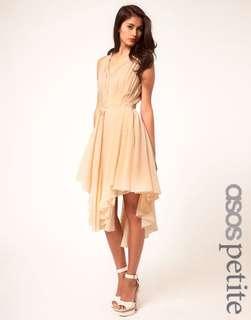 ASOS Chiffon Dress With Gathered Skirt - Nude