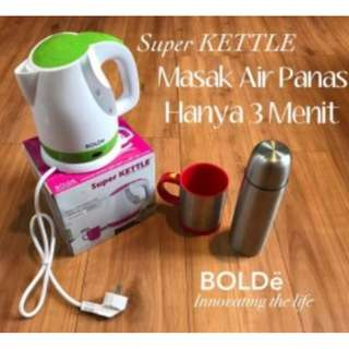 Ketel Listrik (Water Heater) Teko Listrik Ceret Pemanas Air Super Kettle Bolde