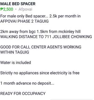 FOR RENT BED SPACE