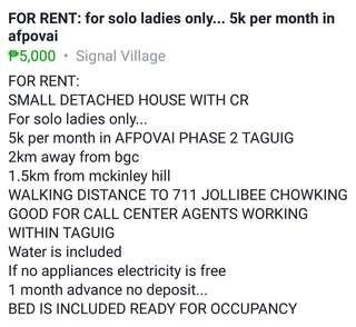 SMALL HOUSE FOR RENT LADIES ONLY