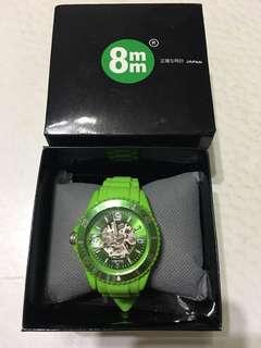 8mm 綠色塑膠 手錶 (連盒)