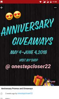 ANNIVERSARY GIVEAWAY PROMO @onestepcloser22
