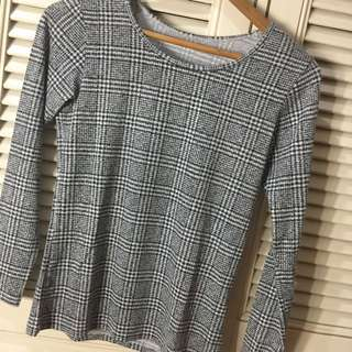 Checkered Long Sleeves Top S-m
