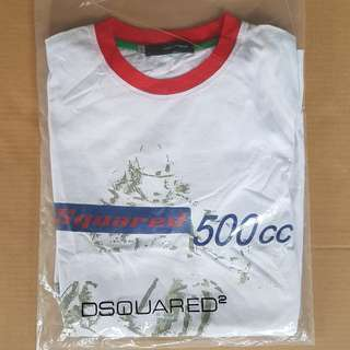 Vintage Fashion, Rare D2, Dean and Dan, Dsquared Label White Colour with Red Collar and Sleeve, 500 cc Bike Design, Original Dsquared2, Hippies, Hip Hop, Rappers