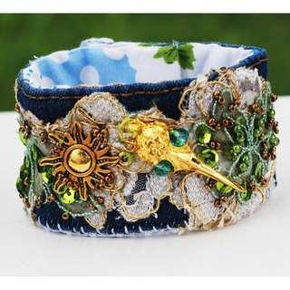Fabric Cuff Bracelet Bird Skull Sun Flower Denim Handmade Small Wrist Bracelet