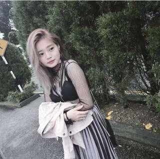 Grey velvet skirt