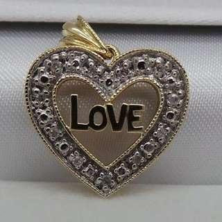 STUNNING 10K YG DIAMOND CLUSTER HEART PENDANT .10 CARAT WITH CERTIFICATE