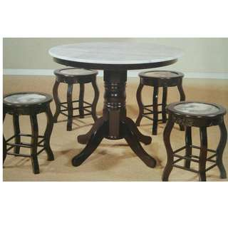 DINING SET MARBLE 1+4