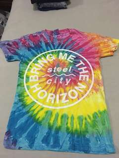 Tie dye bring me the horizon steel city band Merch tee size small drop dead