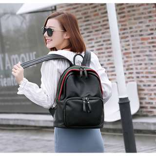 Backpack Black Leather A001#