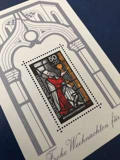 德國1977 聖誕節繪畫 小型張 郵票