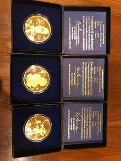 2004 Year of Monkey Gold Plated Coins Set of 3