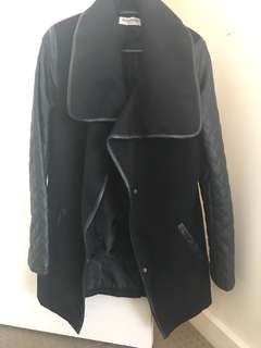 Black coat with leather arms