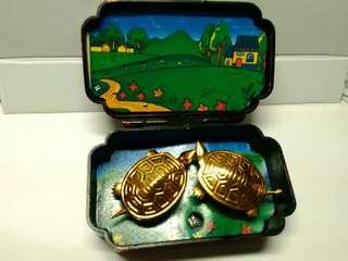 古董八九十年代蛐蛐(夜鳴蟲)吉祥聲盒(打開發出蟲叫聲和小龜會動)