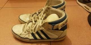 🚚 愛迪達  Adidas 白藍  三葉草   高筒   平底休閒鞋