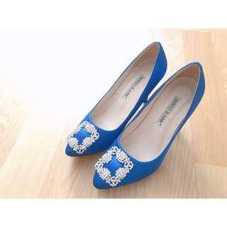 Manolo Blahnik style crystal blue pumps high heels jimmy choo roger vivier pedder red christian louboutin dior 靚藍絲絹高貴閃閃水鑽高跟鞋 襯衫