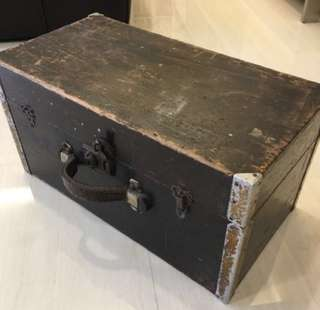Vintage wooden tool box with leather handle