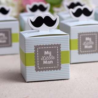(Pre-order) 20 pieces Sale 20pcs My little Man Cute Mustache Baby Shower Favors/Birthday Gift Box