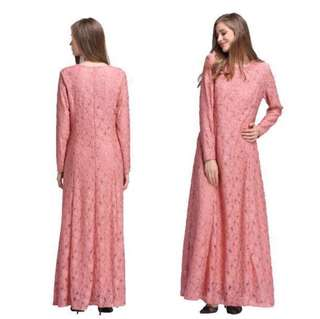 SALE 10 % OFF 🆑BN Long pink lace Jubah
