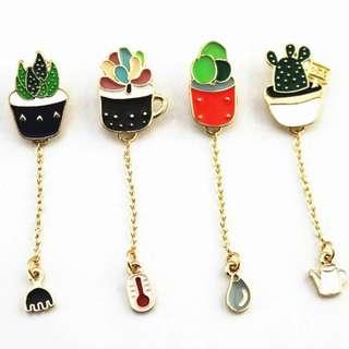 #222 catcus plants tumblr long chain enamel pin   po