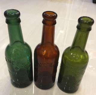 Vintage set of 3 old beer bottles Uk Chester