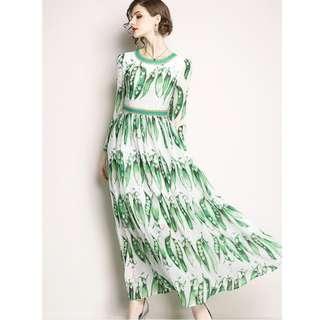 Stylish Europe High Waist Peas Printings Long Dress