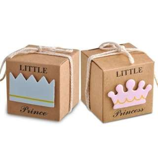 (Pre-order) 50 Pcs Princess and Prince Kraft  Favor Box As Birthday Baby Shower Party Candy Boxes Bag New Boy and Girls Favor Gifts Packing